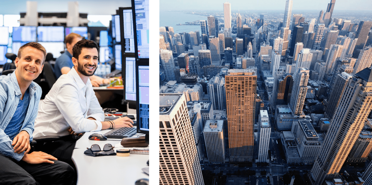 Two Optiver employees smiling while working on trading technology; Aerial city view near our Optiver Chicago office